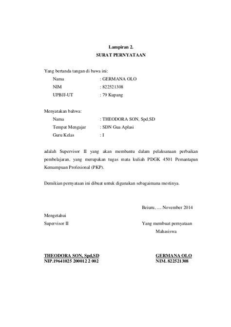format surat pernyataan non pkp pkp ipa kelas i