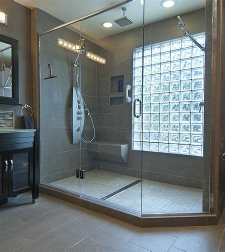 glass block window in shower bathroom ideas