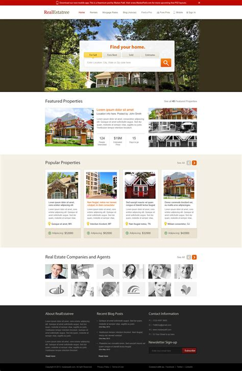 free home page layout for real estate website freebies