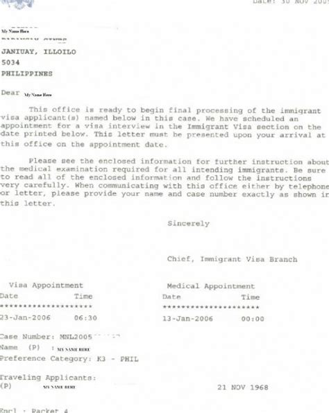 Embassy Appointment Letter The Packet 4 Craig Ging S Home On The Web