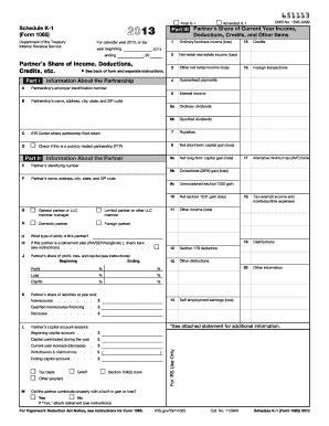Printable Schedule K 1 | 2013 form irs 1065 schedule k 1 fill online printable