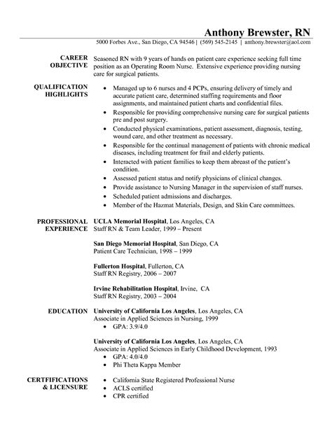 Resume Registered Emergency Room Resume Registered Exles Sidemcicek