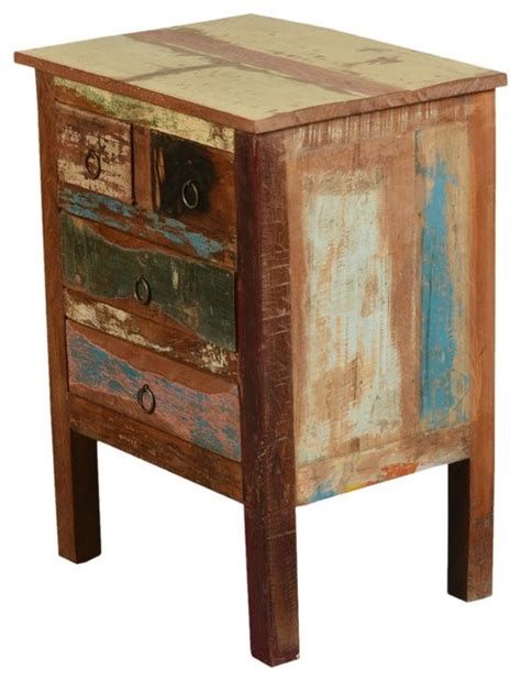 rustic wood accent table paint box rustic reclaimed wood end table with drawers