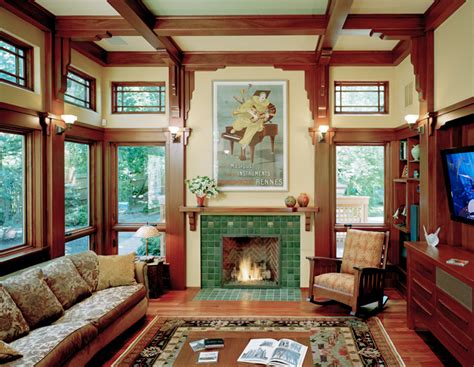 arts and crafts home interiors family room additions using arts and crafts style by landmark services