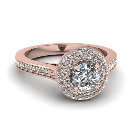 micropave diamond double halo engagement ring   rose