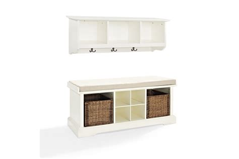 entryway bench and shelf set brennan 2 piece entryway bench and shelf set in white by crosley