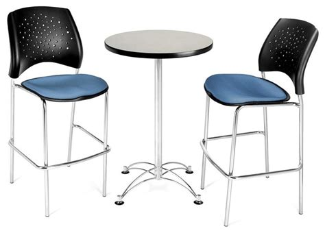 Indoor Bistro Table And 2 Chairs Gray Cafe Table 2 Chairs Contemporary Indoor Pub And Bistro Sets By Shopladder
