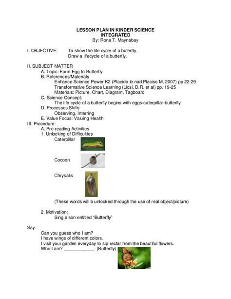 biography lesson plan objectives lesson plan in kinder science integrated