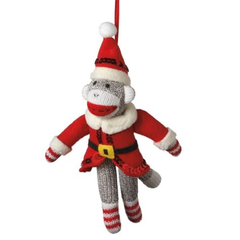 santa sock monkey christmas ornament midwest cbk