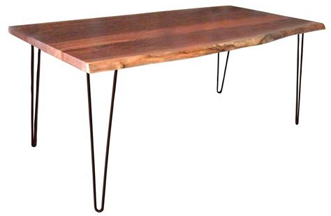 Hairpin Leg Dining Table Amish Live Edge Dining Table With Hair Pin Legs