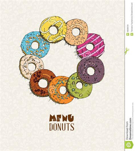 doodlebug donuts donuts set menu in doodle design vintage style