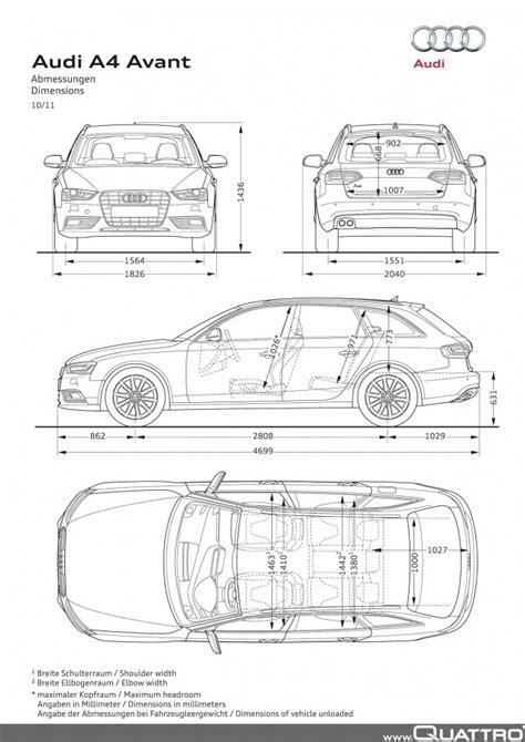 Audi A4 Avant Abmessungen by Audi A4 Avant Abmessungen Quattroworld