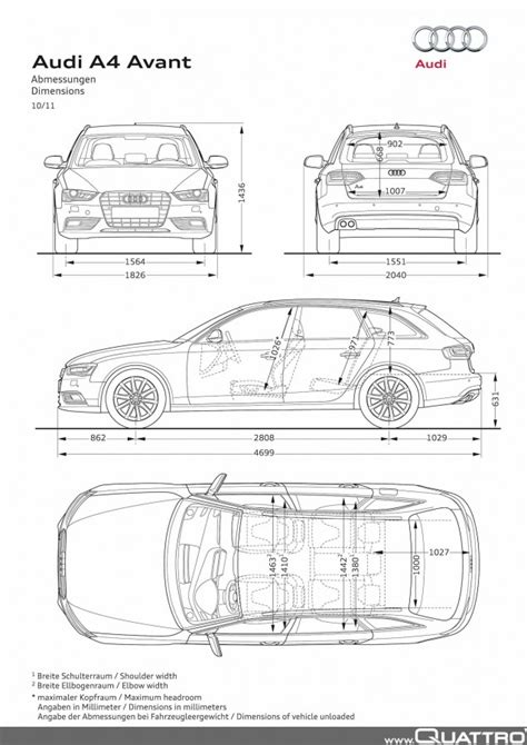 Audi A4 Avant Breite by Audi A4 Avant Abmessungen Quattroworld