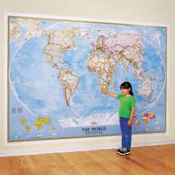 the world for kids wall map laminated national world map wallpaper mural