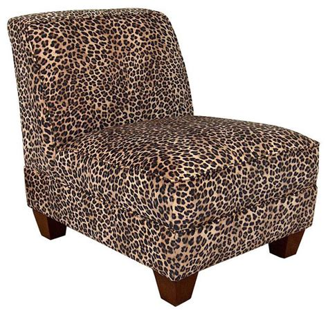 armless slipper chair slipcovers chelsea home sally armless chair in leopard traditional