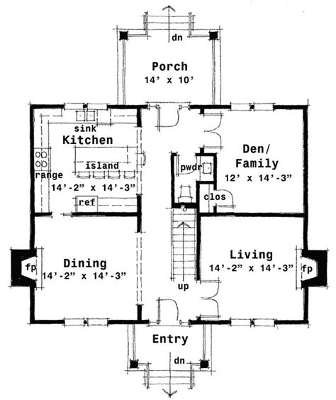 center hall colonial house plan