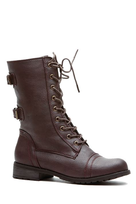 brown cadet textured lace up combat boots cicihot