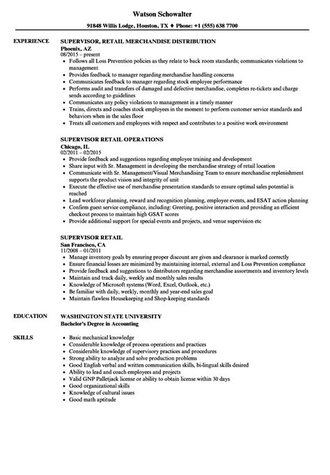 Retail Supervisor Resume by Supervisor Retail Resume Sles Velvet