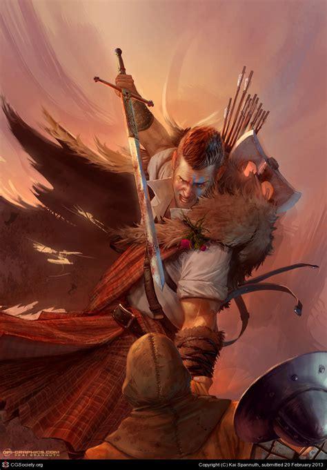 scottish highlander warrior highland warrior battlecry by kai spannuth 2d cgsociety