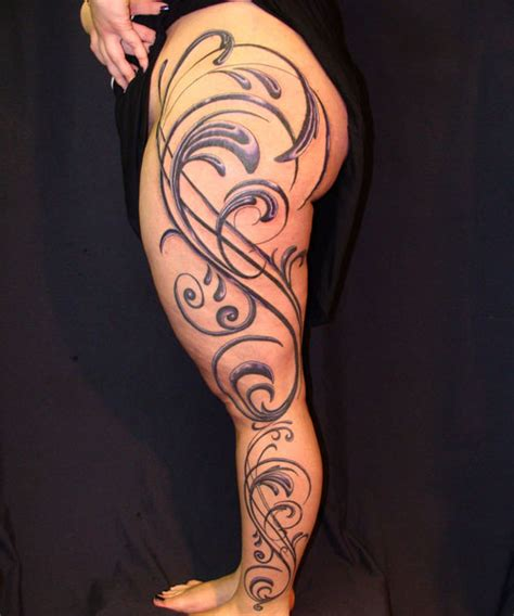 vine sleeve tattoo designs 40 exciting thigh tattoos creativefan