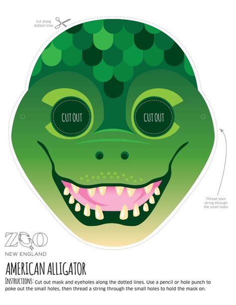 printable alligator mask zoo masks zoo new england