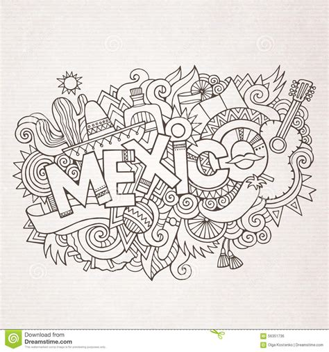 doodle 4 mexico mexico country lettering and doodles elements stock