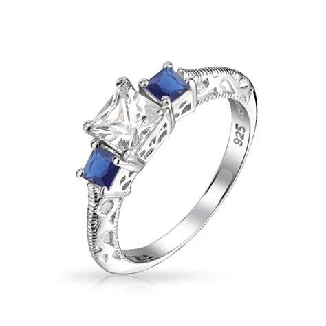 3 sapphire color princess cut cz 925 silver