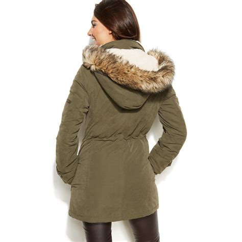 Fur Trim by Dkny Hooded Faux Fur Trim Parka Coat In Green Loden Lyst