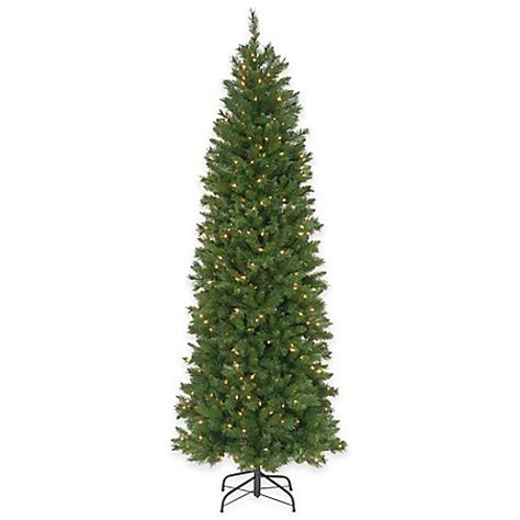 ultra slim pencil christmas tree national tree 7 5 foot pre lit pennington fir hinged pencil tree bed bath beyond