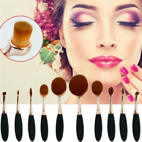 Kuas Make Up kuas kosmetik make up oval brush wajah 10 pcs black