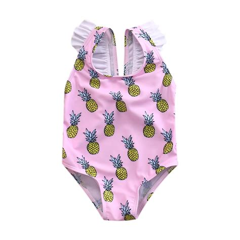 fruits little girl swimsuit 2017 little girls one piece pineapples strap swimsuit baby