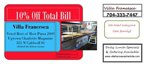 haircut coupons charlotte nc great pizza finally villa francesca in uptown charlotte nc