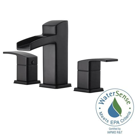 black faucet bathroom pfister kenzo 8 in widespread 2 handle bathroom faucet in matte black lg49 df0b the home depot