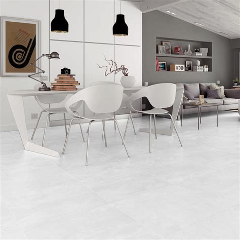 large white floor tiles in stunning cement effect porcelain