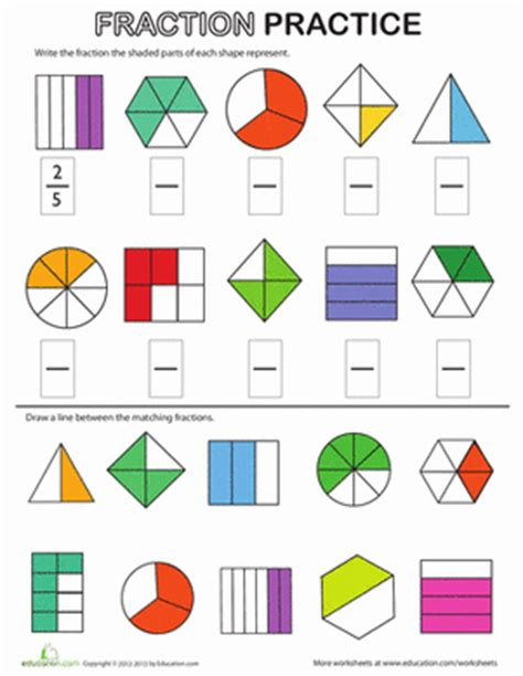 Fractions Review Worksheet by Fraction Review Worksheet Education