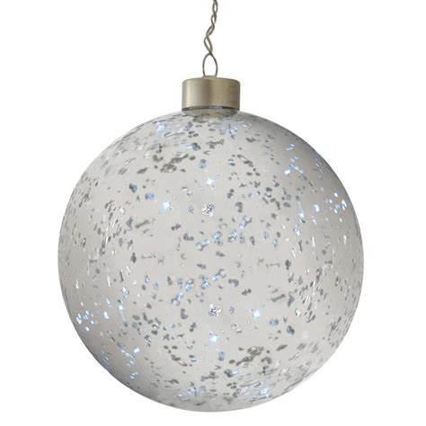 13cm light up silver plated hanging glass ball christmas