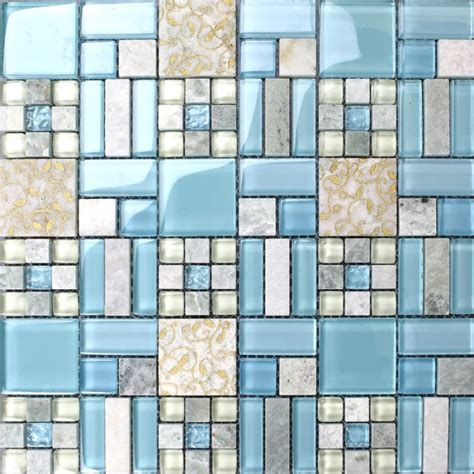 Backsplash For Yellow Kitchen Backsplash Tiles Kitchen Blue Glass Amp Stone Blend Mosaic