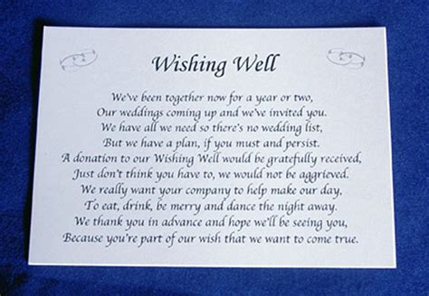 Wedding Invitation Poems by Personalised Wishing Well Money Request Poem Gift Cards
