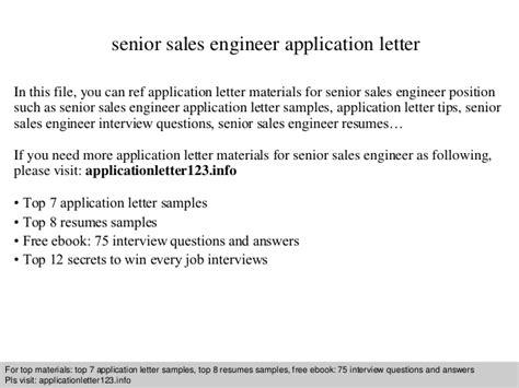 Application Letter Sle Engineer Senior Sales Engineer Application Letter
