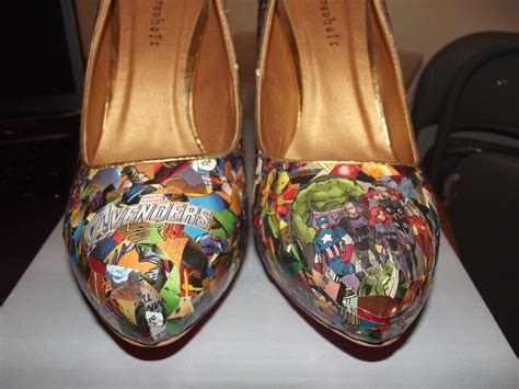Decoupage Shoes With Paper - comic book heels 183 a pair of decoupage shoes