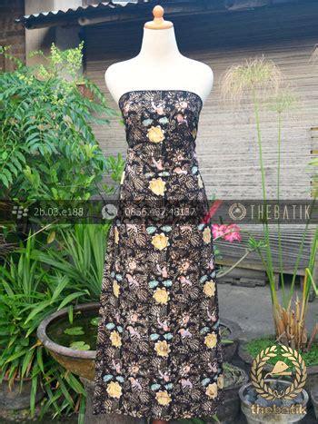 Dress Batik Cap Wonogiren Lucia bahan batik remukan coletan burung floral hitam thebatik