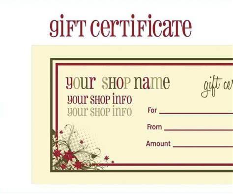 gift cards templates free printable gift cards templates template update234