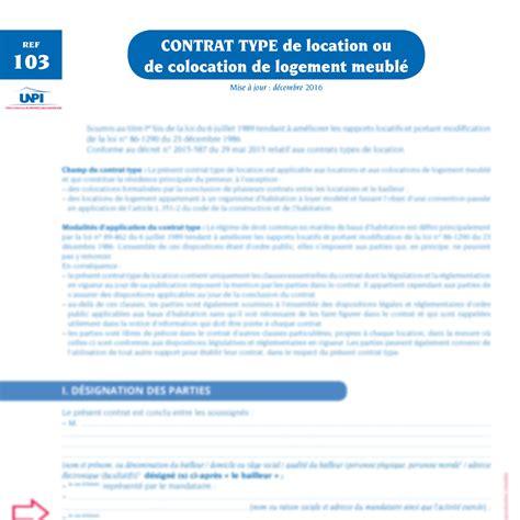 Contrat De Bail Location Meublée by Bail Location Colocation De Logement Meubl 233 Lot De 2