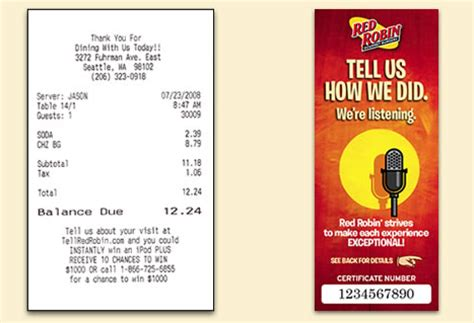 Red Robin Sweepstakes - www tellredrobin com tell red robin survey