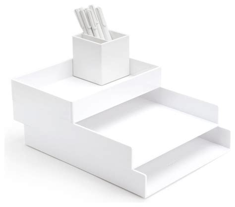White Desk Organizers Desktop Set White Modern Desk Accessories