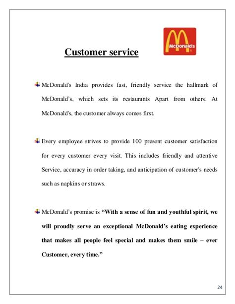 mc donald s summer internship pune