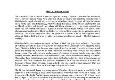 Christian Ethics Essay Questions by Free Historical Essays