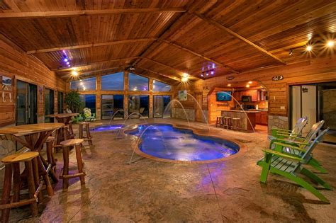 Large Cottages With Indoor Pool by Mountain View Mansion Cabin In Gatlinburg Elk Springs Resort