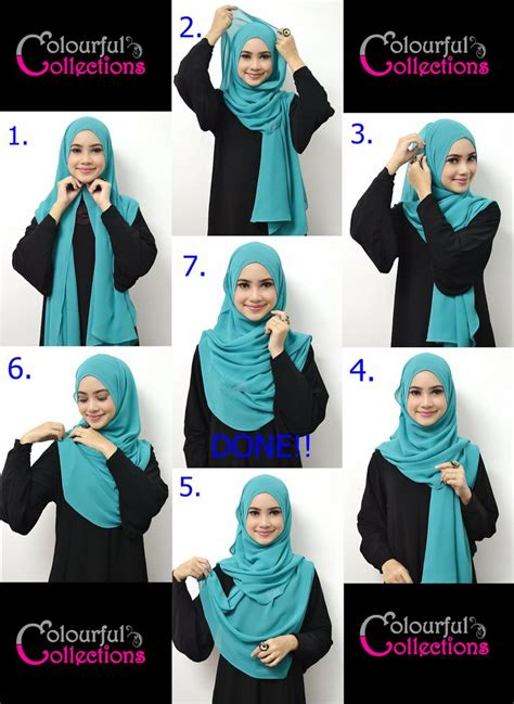 tutorial hijab pashmina hitam nahla colourful collections tudung syria shawls