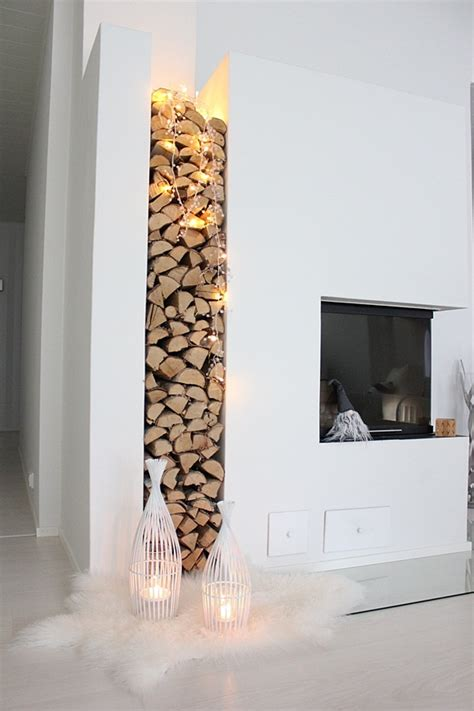 modern place stacked chopped wood tree